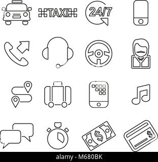 Taxi Service Icons Thin Line Vector Illustration Set - Stock Photo