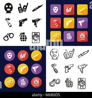 Terrorist All in One Icons Black & White Color Flat Design Freehand Set - Stock Photo