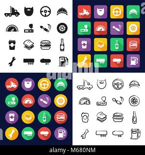 Truck Driver All in One Icons Black & White Color Flat Design Freehand Set - Stock Photo