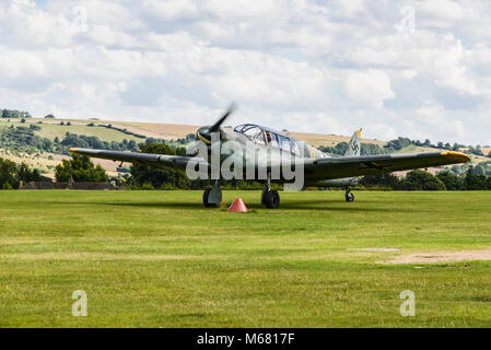 A Messerschmitt Bf 108 taxiing at Old Sarum Airfield - Stock Photo