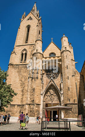 Front facade of Saint Jean de Malte Church in Aix-en-Provence, a lively town in the French countryside. Provence - Stock Photo