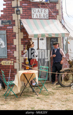 French cafe setting at a war and peace revival meeting - Stock Photo