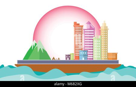 city on ship  in the sea Concept conservation World environment. Icon Landscape geometric shape design flat scene - Stock Photo