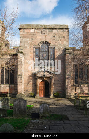 Berwick upon Tweed, west door and entrance to the Holy Trinity Parish Church in the border town of Berwick upon - Stock Photo