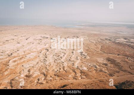The desert meets the Dead sea - Stock Photo