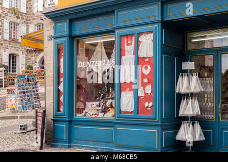 Lace shop Le Puy en Velay Haute-Loire Auvergne-Rhône-Alpes France - Stock Photo