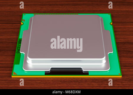 CPU computer processor unit on the wooden table. 3D rendering - Stock Photo