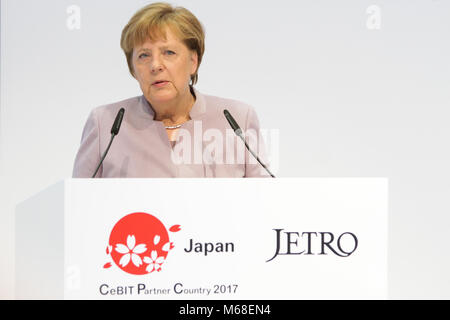 Hanover, Germany. 20th March, 2017. CeBIT 2017, ICT trade fair: Angela Merkel, Federal Chancellor of Germany, speaks at opening walk at booth of CeBIT 2017-partner country Japan. Credit: Christian Lademann