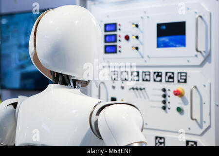 Hanover, Germany. 20th March, 2017. CeBIT 2017, ICT trade fair: robot AILA, a mobile dual-arm robot system, developed - Stock Photo