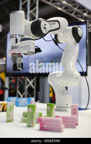 Hanover, Germany. 21th March, 2017. CeBIT 2017, ICT trade fair: Panda, a sensitive, interconnected and collaborative - Stock Photo