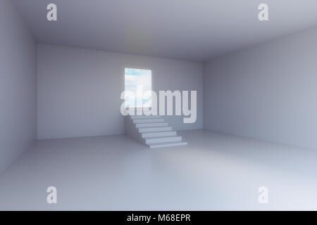 3d rendering of empty room with stair step and door - Stock Photo
