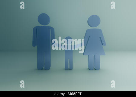 3d rendering of abstract family concept sign - Stock Photo