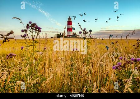 A composite image of a lighthouse with butterflies in the foregrounds - Stock Photo