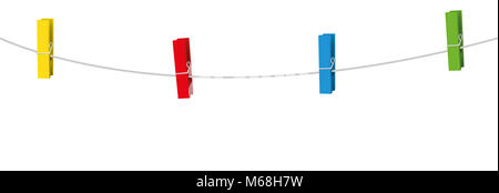 Four colored clothes pins on a clothes line rope holding nothing. - Stock Photo