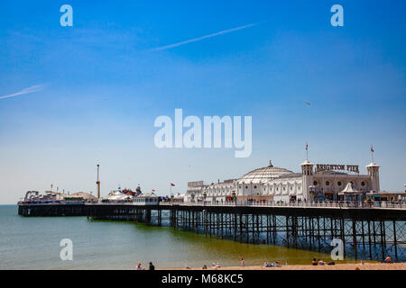 BRIGHTON, UK - JUN 5, 2013: View of the Brighton Palace Pier, commonly known as the Brighton Pier or the Palace Pier, the only one pleasure pier in Bri