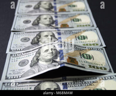 stock exchange financial institutions and the hundred dollar, everywhere in the world are valid 100 USA dollars, - Stock Photo