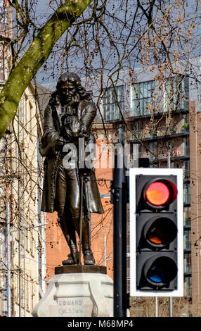 Statue of contentious figure Edward Colston, merchant, benefactor andslave trader. Bristol city Center England UK - Stock Photo