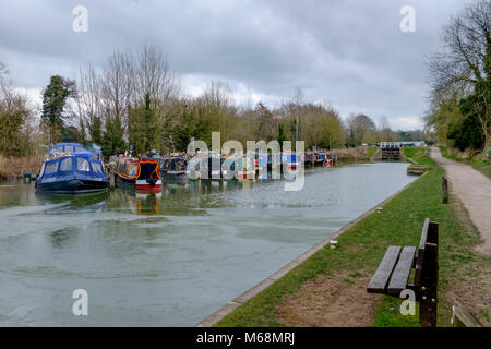 Canal boats on the Kennet and Avon Canal above the Caen Hill Locks at Devizes Wiltshire England - Stock Photo