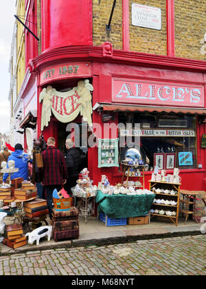 A shop called Alice's in Portobello Road in the Notting Hill district of London - Stock Photo