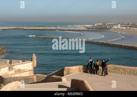 View from Kasbah of the Udayas, in background Bou Regreg river and Sale, Rabat. Morocco - Stock Photo
