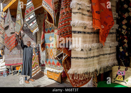 Souk of carpets, medina, Rabat. Morocco - Stock Photo