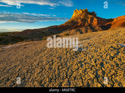 Sunrise, Bentonite Hills, Circle Cliffs, Grand Staircase-Escalante National Monument, Utah - Stock Photo