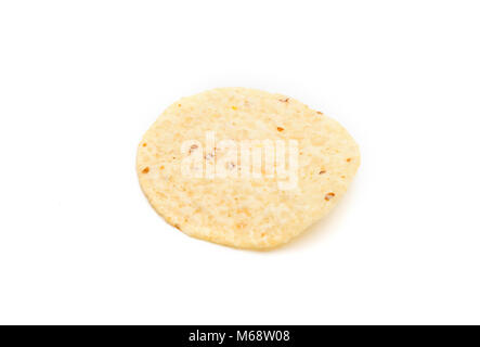 Round Tortilla Corn Chips on a White Background - Stock Photo