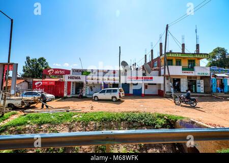 ISEBANIA, KENYA -JANUARY 3, 2015: View of Isebania street - Stock Photo