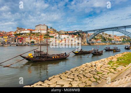 Rabelo Boats on the Douro River in Porto Portugal. - Stock Photo