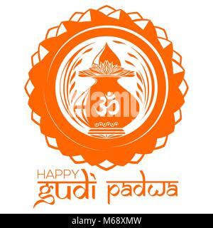 Happy Gudi Padwa. Hindu New Year. Mandala logo with Kalash and Om or Aum symbol in Devanagari. Vector illustration - Stock Photo