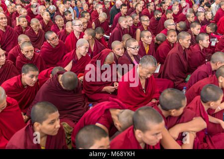 Dharamsala, India - June 6, 2017: The monks and tibetan people listening to his Holiness the 14 Dalai Lama Tenzin - Stock Photo