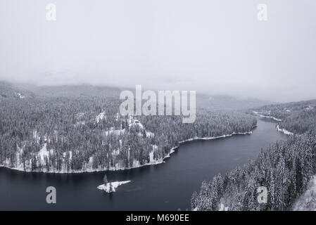 Aerial panoramic view of Winter Canadian Landscape. Taken near Nelson, British Columbia, Canada. - Stock Photo