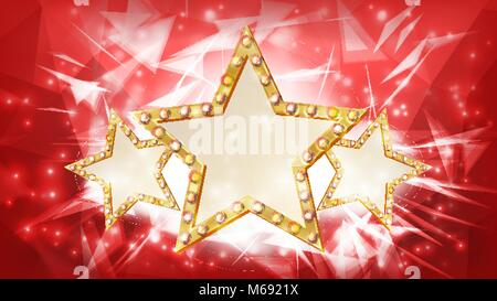 Gold Star Vector. Rays. Three Silhouette Of Gold Disco, Casino, Carnival Star Sign. Banner, Poster Template. Business - Stock Photo