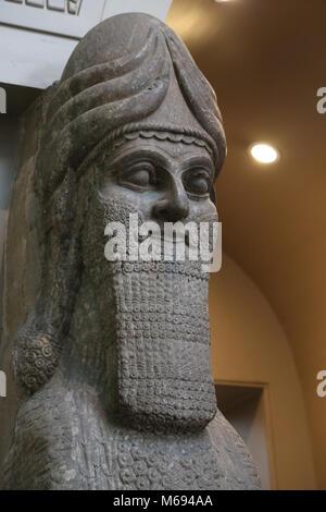 Human-headed winged lion (lamassu). 883-859 BC. Neo-Assyrian. Reign of Ashurnasirpal. Nimrud (ancient Kalhu). British - Stock Photo