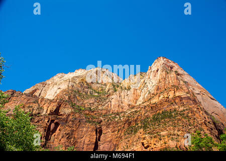 View of Peaks at top of cliffs at Zion National Park - Stock Photo