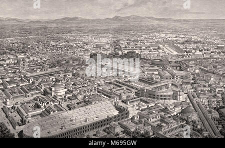 Reconstruction of the cityscape of Rome, 3rd century - Stock Photo