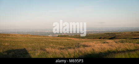 Looking towards Manchester and the Derbyshire Dales from the side of Winter Hill near Bolton - Stock Photo