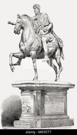 Equestrian Statue of Marcus Aurelius, Marcus Aurelius Antoninus Augustus; 121 – 180 AD, Roman emperor - Stock Photo