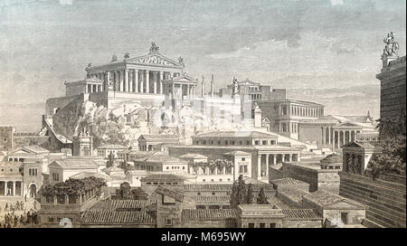 Reconstruction of the Capitoline Hill, Rome, Italy - Stock Photo