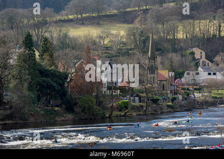 Llangollen is a small town and community in Denbighshire, north-east Wales, situated on the River Dee and on the - Stock Photo