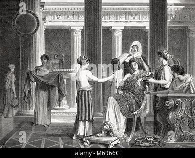 Morning scene in an ancient Roman women's boudoir - Stock Photo