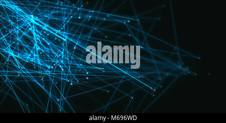 3D illustration. Abstract background image of lines and dots on dark background. - Stock Photo