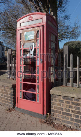 A vandalised K6 red telephone box on Alexandra Road Southend-On-Sea. The photograph was taken in February 2018. - Stock Photo