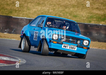 Stuart Ranby and Ian Bass in the Ford Escort at the Motorsport News 2018 Snetterton Stage Rally, Norfolk, UK. - Stock Photo