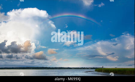 rainbow and storm clouds over south carolina - Stock Photo