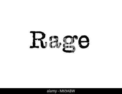 The word Rage from a typewriter on a white background - Stock Photo