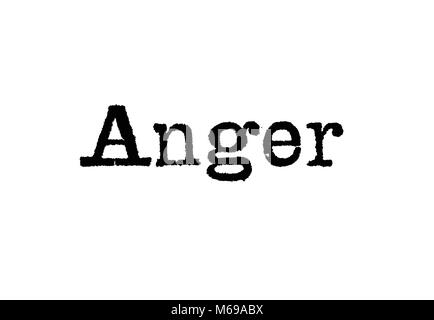 The word Anger from a typewriter on a white background - Stock Photo