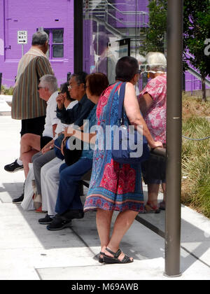 Elderly people waiting for a bus - Stock Photo