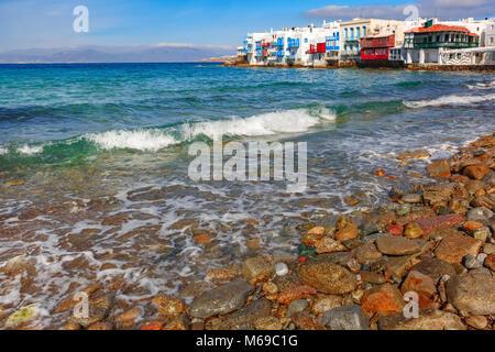 Little Venice on island Mykonos, Greece - Stock Photo