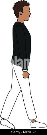 vector cartoon walking man icon in comic style people walk sign